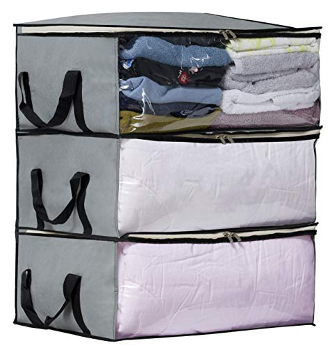 Storage Containers Shelves - SLEEPING LAMB Under Bed Clothes Storage containers Storage Bag Organizers for Blanket, Comforter in Bedroom, Closet, 3 Piece Set