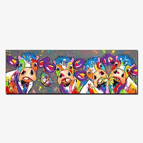 Karen Max Modular Giclee Print 1 Piece Landscapes and Colorful Four Cows Animals Graffiti Oil Painting Canvas Prints for Wall Art Picture for Home Decor Living Room (Size 4:26x78inch Unframe) by Karen Max