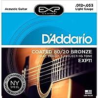 D'Addario EXP11 con cuerdas de guitarra acústica NY Steel, 80/20, recubierto, ligero, 12-53