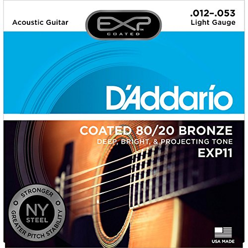 (D'Addario EXP11 with NY Steel Acoustic Guitar Strings, 80/20, Coated, Light, 12-53)