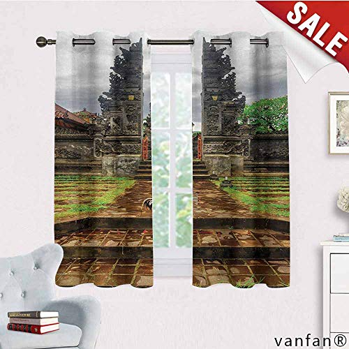 - LQQBSTORAGE Balinese,Blackout Curtains for Bedroom,Traditional Balinese Architecture Gate Temple Tourist Attractions Asian Monument,Darkening Grommet Window Curtain-Set of 2,Brown Green