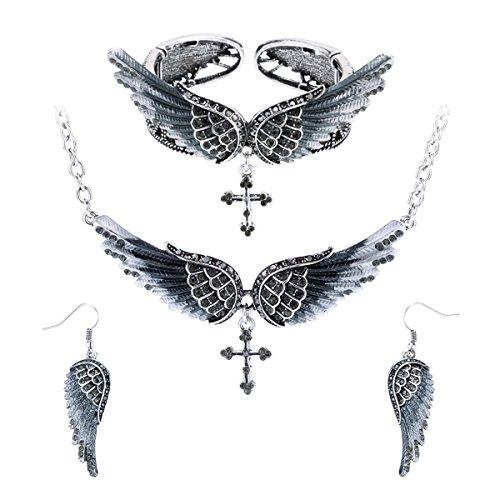 Pendant Bracelet Earrings - Szxc Jewelry Women's Guardian Angel Wings Cross Pendant Necklace Bangle Bracelet Earrings biker Jewelry Sets