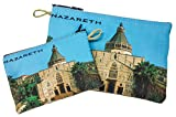 Nazareth Annunciation Church Set of 2 Icons Holder Cloth Rosary Case Tapestry Zipper Close Pouch From Holy Land