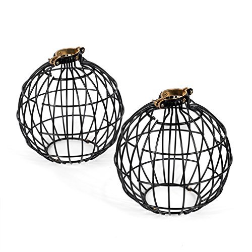 (Rustic State Vintage Design Metal Light Cage Guard - Decorative Lamp Shade Black Set of 2Rustic State Vintage Design Metal Light Cage Guard - Decorative Lamp Shade Black Set of)