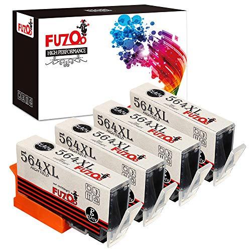 FUZOO Compatible Ink Cartridges Replacement for HP 564XL 564 XL Work with Photosmart 6520 5520 7510 6510 7525 5510 D7560 Deskjet 3520 Officejet 4620 Premium C410 C309A C310A Printer (Black, 4-Pack)