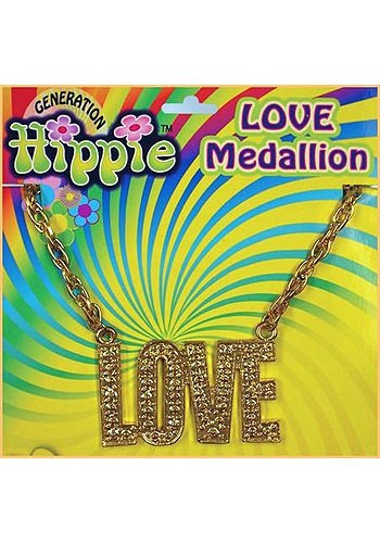 Love 60's 70's Hippie Costume Medallion Necklace (Hippie Costume Love)
