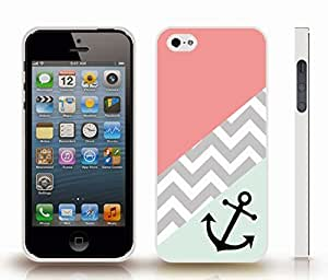 iStar Cases? iPhone 4 Case with Chevron Pattern Triple Band Variety Stripes, Black Anchor Black , Snap-on Cover, Hard Carrying Case (White)
