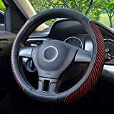 BOKIN Steering Wheel Cover - Microfiber Leather and Viscose - Breathable - Warm in Winter and Cool in Summer - Universal 15 Inches (New Red)