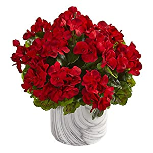 Nearly Natural 8149-RD Geranium Artificial Marble Finished Vase UV Resistant (Indoor/Outdoor) Silk Plants Red 51