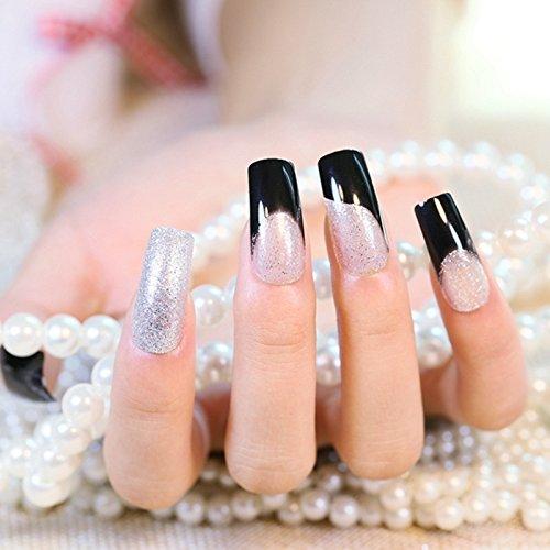 Amazon.com : 1kit=24pcs Long Square French Nails Silver Glitter Black Party False nails Tips Pre-designed Z396 : Beauty