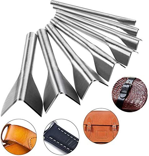 5-40mm Cuasting 8pcs V Forme Cuir Artisanat Outils de Coupe en V Outils de Coupe de Coupe en V Outils pour Ceinture et Sangles avec 8 Tailles