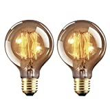 YUNLIGHTS Vintage Edison Light Bulbs Retro Old Fashioned Style Screw Bulb Dimmable Decorative Spiral Filament Lamp E27 G80 220-240V 40W Warm White Lights 2 Pack