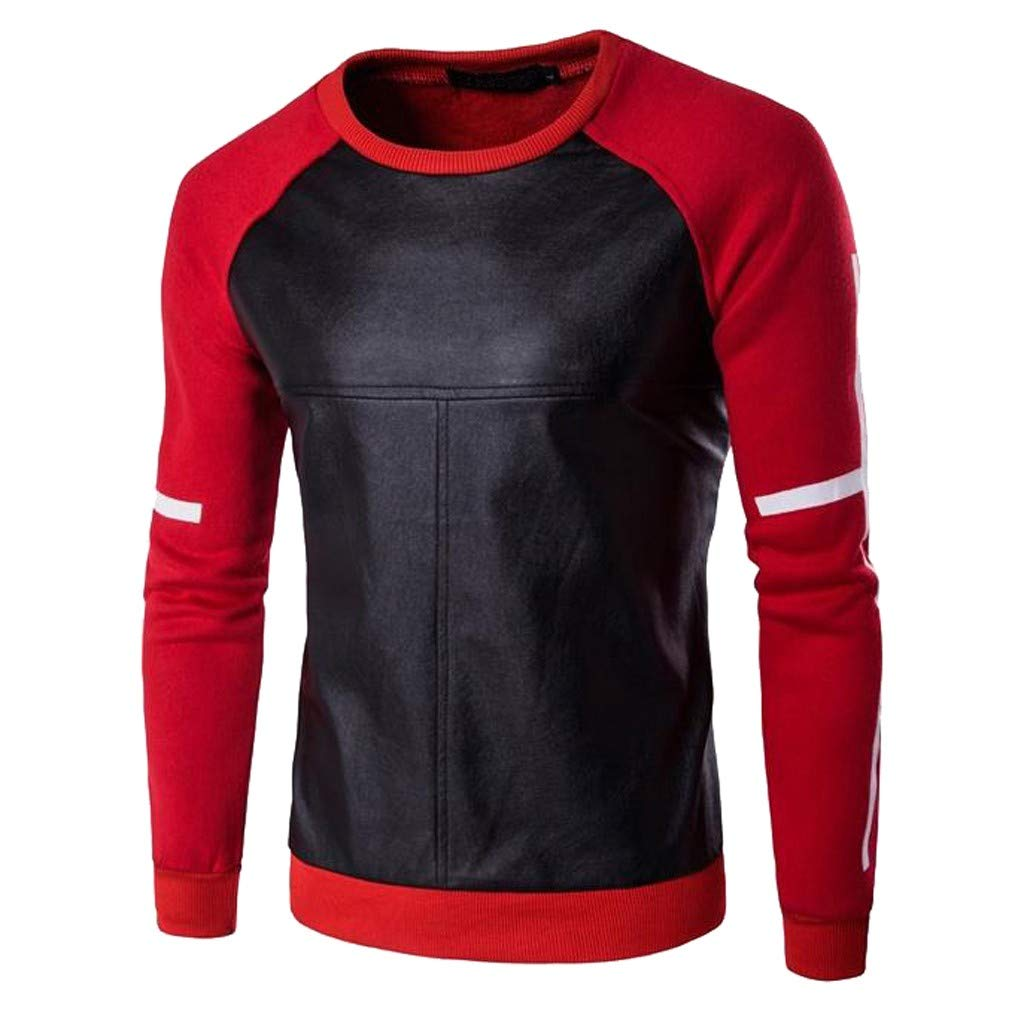 Mä nner Leder Langarmshirt Herbst Winter Sweatshirt Casual Oansatz Leder Patchwork Tops Blusen Herren T-Shirt O-Neck Blouse Rot Grü n Schwarz M/L/XL/XXL/XXXL Felicove