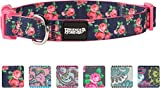"""Friends Forever Dog Collar for Dogs, Fashion Print Garden Pattern Cute Puppy Collar, 18-26"""" Large Navy"""