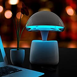 Mushroom Mood Light, Bluetooth Speaker, USB Cellphone Charger, Table Lamp,Color Changing Remote Control Desk Lamp Intelligent Alarm Clock TF Card Stereo Music FM Radio