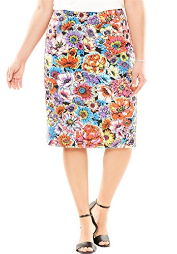 's Plus Size Bi-Stretch Skirt Multi Floral,14 ()