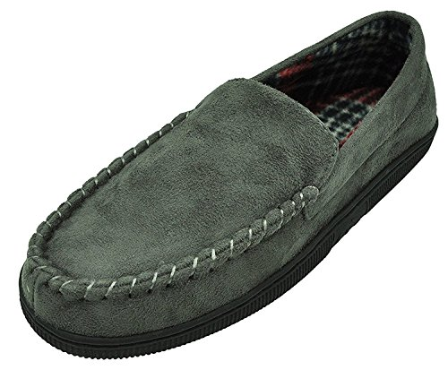 MIXIN Men's Casual Pile Lined Indoor Outdoor Rubber Sole Micro Suede Moccasin Flats Slippers Version 2018 Grey Size 8-9
