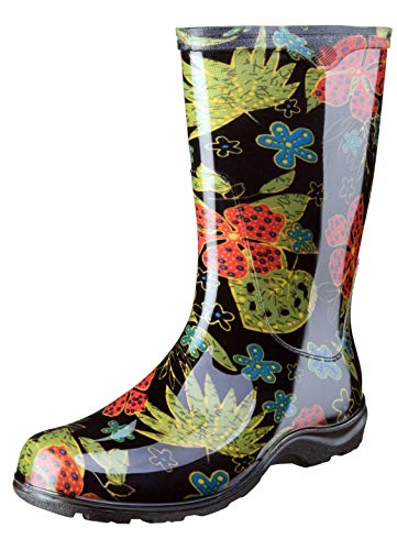 Sloggers Women's Waterproof Rain and Garden Boot with Comfort Insole, Midsummer Black, Size 8, Style 5002BK08