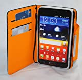 MoboGadget Black With Orange Magnetic Clasp Book Style Leather Pouch + Built in Hand Strap + Credit Card Slots for Samsung Galaxy Note i9220 / i717 Cell Phone Carrying Case / Pouch