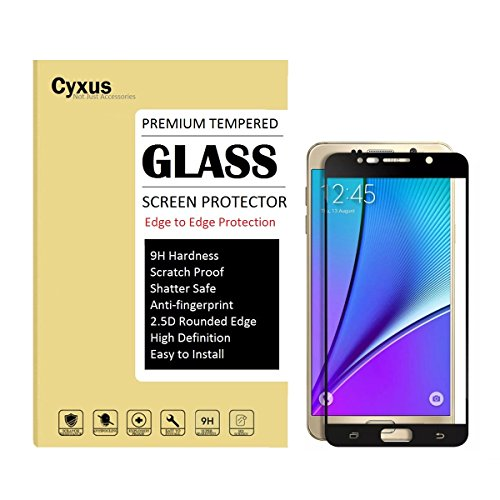 Cyxus Edge to Edge Protection 9H Hardness HD Clear Film Premium Tempered Glass Screen Protector for Samsung Galaxy Note 5 (Note5) (Black Full Coverage)