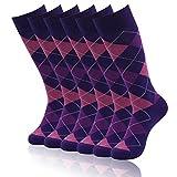 Mid Calf Dressy Socks, SUTTOS Men's Dress Socks 6 Pair Groomsmen Wedding Socks Ultimate Elite Casual Purple Argyle Plaids Charged Cotton Office Business Office Suit Socks Men Gifts Socks