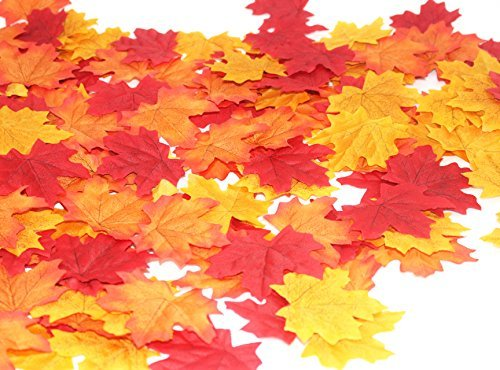 600 Assorted Mixed Deep Fall Colored Artificial Maple Leaves for Weddings, Thanks-Giving, Events and Outdoor Maple Leaf Cafe Decoration (600 Pieces) by MerryNine