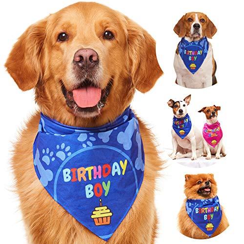 Odi Style Dog Bandana for Dog Birthday Party - Dog Birthday Bandana for Small, Medium, Large Dogs, Bandana for Dogs Puppy Birthday Party, Boy Dog Happy Birthday Bandana, Blue -