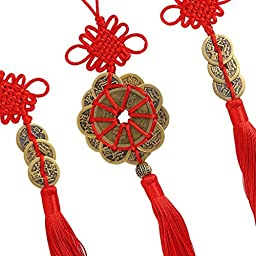 Uniquelover Chinese Antique Traditional Red Enless Knot Feng Shui Lucky Coins for Wealth and Good Fortune--3pcs