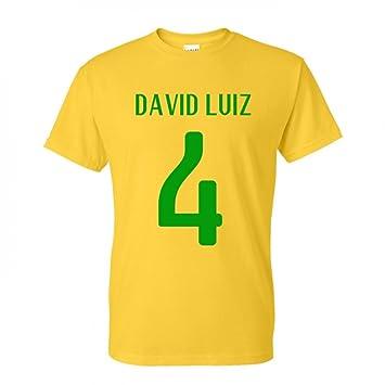 79abc741f43 GILDAN David Luiz Brazil Hero T-shirt (yellow)  Amazon.co.uk  Sports ...