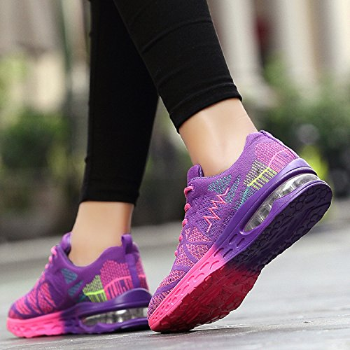 Lightweight Shoes Running Zapatos Libre Sport Aire Fitness Deportes al Air Cushion Unisexo Púrpura FqwXTdF
