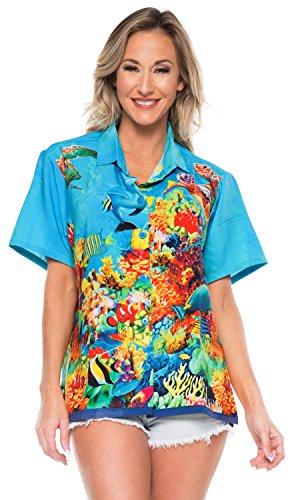 La Leela Designer hawaiianischen Aloha Tank-Top Hemd blaue Bluse s Frauen