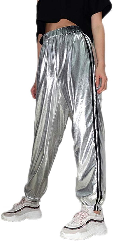 Greetuny Pantalones Reflectantes Mujer Chandal Casual Jogging Moda ...