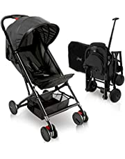 Portable Folding Lightweight Baby Stroller - Smallest Foldable Compact Stroller Airplane Travel, Compact Storage, 5-Point Safety, Easy 1 Hand Fold, Canopy Sun Shade, Storage Bag - Jovial JPC20BK, black