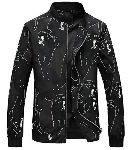Zipper Spring Jackets Floral security Bomber Print Men's 9 Sleeve Long 5P6qwY7x