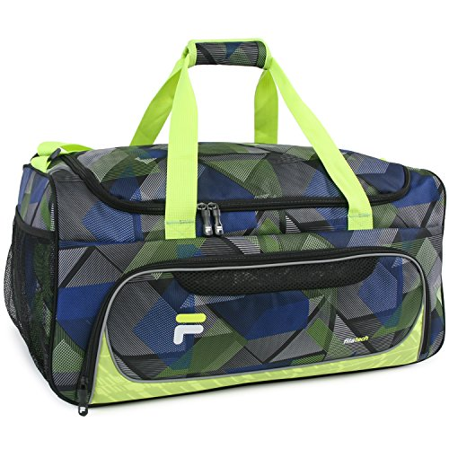 51sshgl08ML - Fila Energy Md Travel Gym Sport Duffel Bag, Abstract Neon