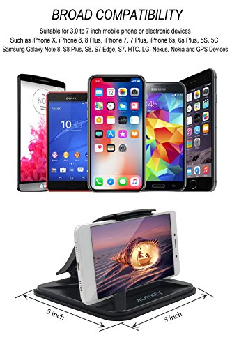 Aonkey Cell Phone Holder For Car Dashboard Car Mounts For IPhone X 8 Plus 7 Plus 6 6S Plus Non Slip GPS Holder Car Cradles For Galaxy Note 8 S8 Plus S7 Edge And 3 7 Inch Smartphone Or GPS Devices