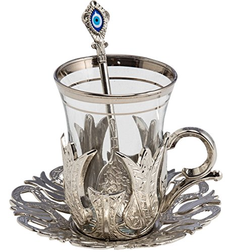 (24 Pieces Tea Glasses with Holders Spoons and Saucers Set of 6 - Vintage Tulip Design Ottoman Arabic Gift Set, Silver)