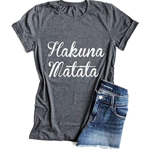 KimSoong Women Hakuna Matata Shirt Casual Letter Print Cotton Short Sleeves T-Shirt Tee -