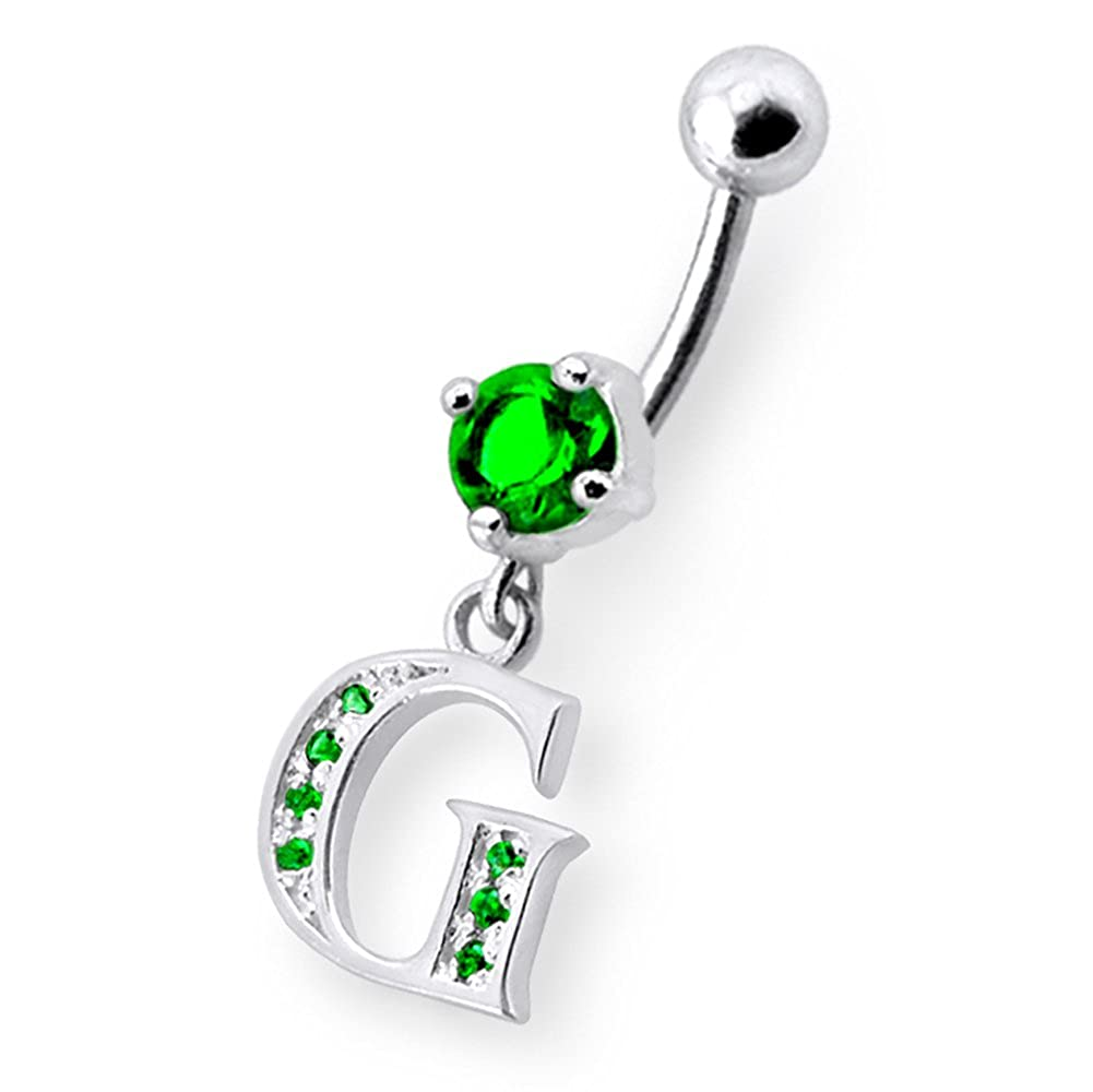 Fancy G Alphabet Dangling 925 Sterling Silver with Stainless Steel Belly Button Navel Rings