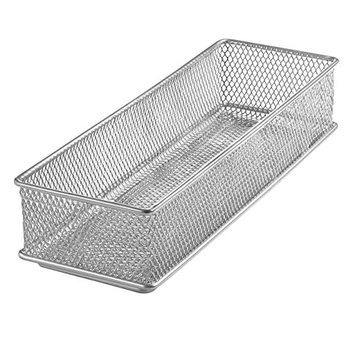 YBM HOME Silver Mesh Drawer Cabinet and or Shelf Organizer Bins, School Supply Holder Office Desktop Organizer Basket 1593s (1, 3x9x2 Inch)
