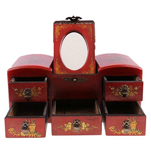 MagiDeal Retro Jewelry Storage Old Drawer Chinese Wooden Dressing Table with Mirror by MagiDeal (Image #10)