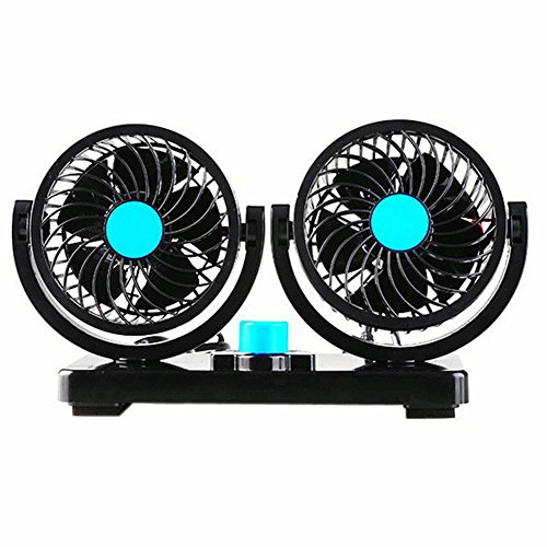 Willcomes 12V Dual Head Car Auto Cooling Air Fan 360 Degree Rotation Powerful Quiet 2 Speed Adjustable Strong Wind Auto Cooling Air Fan with Kids Safe Design by Willcomes
