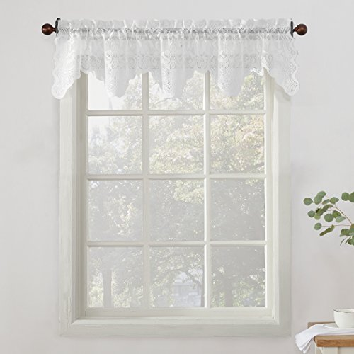 Curtain Lace Valance (No. 918 Alison Floral Lace Sheer Curtain Valance, 58