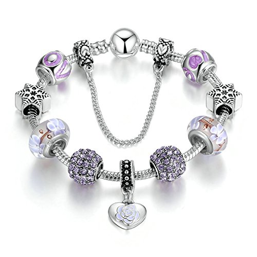 Amethyst Murano Bracelets (Love Beads Charms Bracelet for Girls and Women Murano Glass Beads Rose Flower Charms Amethyst Bracelets (Flower charm bracelet))