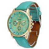 yijiamaoyiyouxia Unisex Casual Geneva Faux Leather Quartz Analog Wrist Watch Watches (Mint Green)