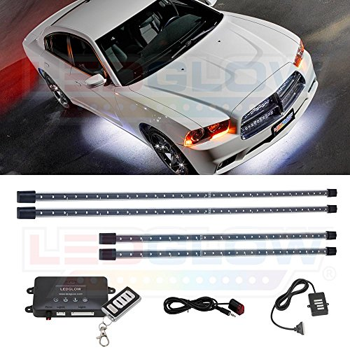 LEDGlow 4pc White LED Underbody Underglow Car Light Kit - Includes Wireless Remote - Music Mode - Clear Angled Mounting Brackets