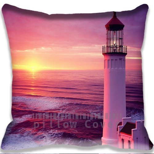 Standard Size Throw Pillow Case with landscape Lighthouse Sunset Sofa Home Cushion Case Cover Gift Pillow Cover ()