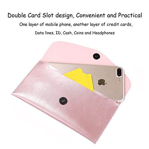 Ailzos Phone PU Leather Wallet Style Sleeve Case Cover,Portable Soft Fiber Leather Case Holster Cover Universal Pouch Sleeve for iPhone X/7 8 Plus,7,6S,6,5S/Samsung Galaxy S9 S8+ S8/S8 etc,Pink by Ailzos (Image #1)