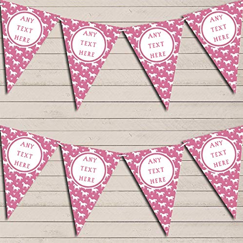 (Pink Horses Pony Personalized Children's Birthday Bunting Garland Banner Decoration)