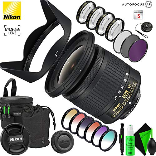 Nikon AF-P DX NIKKOR 10-20mm f/4.5-5.6G VR Lens with Creative Filter Kit and Pro Cleaning Accessories